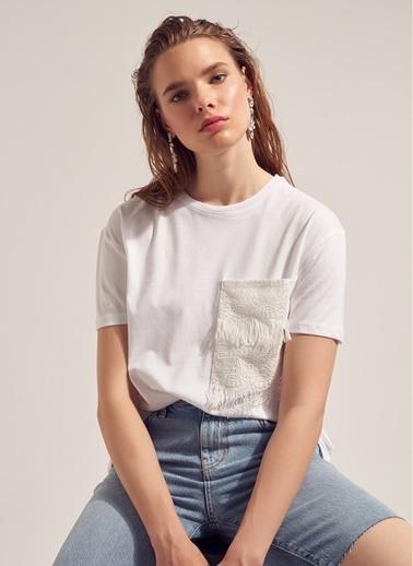 Monamoda Cebi Fistolu %100 Cotton T-Shirt Beyaz